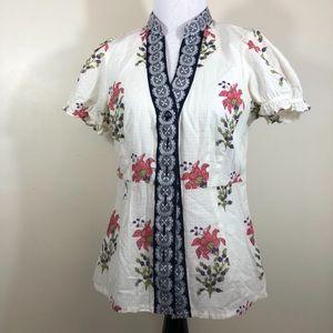 Edme & Esyllie Anthropology Button Floral Top